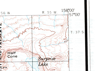 Reduced fragment of topographic map en--usgs--250k--076854--(1963)--N057-00_W160-30--N056-00_W158-00 in area of Chignik Bay, Port Heiden, Black Lake; towns and cities Chignik, Chignik Lagoon, Chignik Lake