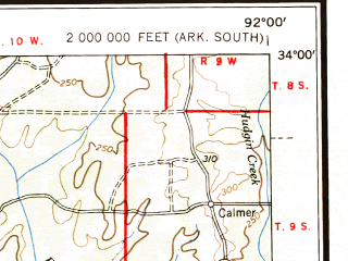 Reduced fragment of topographic map en--usgs--250k--076858--(1958)--N034-00_W094-00--N033-00_W092-00; towns and cities El Dorado, Camden, Magnolia, Hope, Springhill