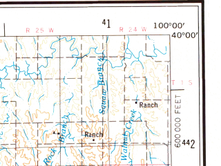 Reduced fragment of topographic map en--usgs--250k--076863--(1954)--N040-00_W102-00--N039-00_W100-00; towns and cities Colby, Gem, Mcdonald, Rexford