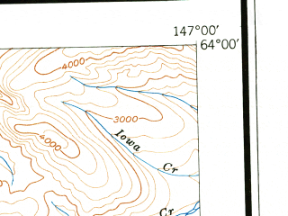 Reduced fragment of topographic map en--usgs--250k--076866--(1951)--N064-00_W150-00--N063-00_W147-00 in area of Butte Lake, Summit Lake, Deadman Lake; towns and cities Ferry, Healy, Lignite