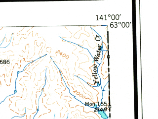 Reduced fragment of topographic map en--usgs--250k--076874--(1950)--N063-00_W144-00--N062-00_W141-00 in area of Chisana, Jatahmund Lake, Tanada Lake; towns and cities Alcan, Mentasta Lake, Northway