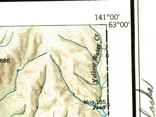 Reduced fragment of topographic map en--usgs--250k--076874--(1951)--N063-00_W144-00--N062-00_W141-00 in area of Chisana, Jatahmund Lake, Tanada Lake; towns and cities Northway Village, Slana, Alcan