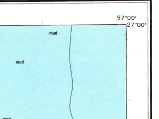 Reduced fragment of topographic map en--usgs--250k--320752--(1962)--N027-00_W098-00--N025-00_W097-00 in area of Laguna Madre, Bahia Grande, Cayo Atascoso; towns and cities Matamoros, Brownsville, Harlingen, Weslaco, San Benito