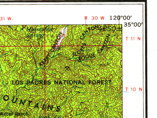 Reduced fragment of topographic map en--usgs--250k--320753--(1958)--N035-00_W121-00--N033-00_W120-00; towns and cities Santa Maria, Lompoc, Vandenberg Afb, Vandenberg Village, Guadalupe