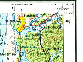 Reduced fragment of topographic map en--usgs--250k--320754--(1958)--N044-00_W125-00--N042-00_W124-00 in area of Coos Bay, Siltcoos Lake, Tahkenitch Lake; towns and cities Coos Bay, North Bend, Florence, Lakeside, Myrtle Point