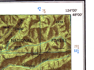 Reduced fragment of topographic map en--usgs--250k--320755--(1951)--N048-00_W125-00--N046-00_W124-00; towns and cities Taholah, Ilwaco, Westport