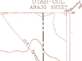 Reduced fragment of topographic map en--usgs--250k--321351--(1893)--N038-00_W110-00--N037-00_W109-00; towns and cities Mexican Hat, Montezuma Creek, Monticello