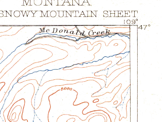 Reduced fragment of topographic map en--usgs--250k--321867--(1889)--N047-00_W110-00--N046-00_W109-00 in area of Deadmans Basin Reservoir; towns and cities Moore, Ryegate, Harlowton