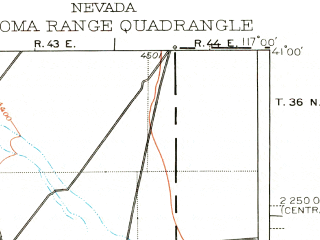 Reduced fragment of topographic map en--usgs--250k--322083--(1932)--N041-00_W118-00--N040-00_W117-00 in area of Spring Creek; towns and cities Winnemucca