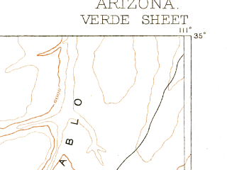 Reduced fragment of topographic map en--usgs--250k--322205--(1887)--N035-00_W112-00--N034-00_W111-00 in area of Morman Lake; towns and cities Sedona, Camp Verde, Payson, Big Park, Cornville