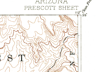 Reduced fragment of topographic map en--usgs--250k--322206--(1892)--N035-00_W113-00--N034-00_W112-00; towns and cities Prescott, Cottonwood, Prescott Valley, Black Canyon City, Humboldt