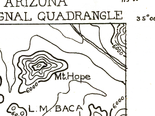 Reduced fragment of topographic map en--usgs--250k--322207--(1923)--N035-00_W114-00--N034-00_W113-00 in area of Alamo Lake; towns and cities Bagdad