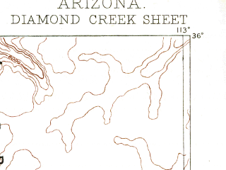 Reduced fragment of topographic map en--usgs--250k--322217--(1886)--N036-00_W114-00--N035-00_W113-00 in area of Colorado, Colorado; towns and cities Peach Springs