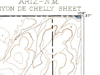 Reduced fragment of topographic map en--usgs--250k--322229--(1892)--N037-00_W110-00--N036-00_W109-00 in area of Many Farms Lake; towns and cities Chinle, Teec Nos Pos, Tsaile, Dennehotso