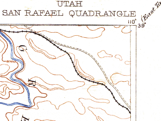 Reduced fragment of topographic map en--usgs--250k--322256--(1885)--N039-00_W111-00--N038-00_W110-00 in area of Green; towns and cities Green River