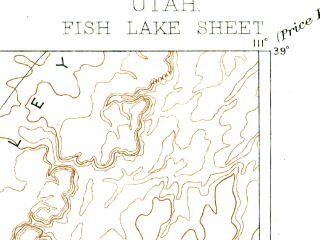 Reduced fragment of topographic map en--usgs--250k--322257--(1896)--N039-00_W112-00--N038-00_W111-00 in area of Fish Lake; towns and cities Antimony, Koosharem, Aurora