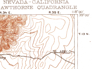 Reduced fragment of topographic map en--usgs--250k--322260--(1911)--N039-00_W119-00--N038-00_W118-00 in area of Walker Lake; towns and cities Schurz, Hawthorne