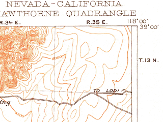 Reduced fragment of topographic map en--usgs--250k--322260--(1915)--N039-00_W119-00--N038-00_W118-00 in area of Walker Lake; towns and cities Hawthorne, Schurz