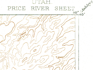 Reduced fragment of topographic map en--usgs--250k--322264--(1886)--N040-00_W111-00--N039-00_W110-00; towns and cities Price, Sunnyside, Cleveland, Wellington