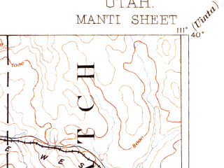Reduced fragment of topographic map en--usgs--250k--322265--(1885)--N040-00_W112-00--N039-00_W111-00 in area of Mona Reservoir, Joes Valley Reservoir, Gunnison Reservoir; towns and cities Mount Pleasant, Centerfield, Goshen