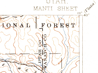 Reduced fragment of topographic map en--usgs--250k--322265--(1895)--N040-00_W112-00--N039-00_W111-00 in area of Mona Reservoir, Joes Valley Reservoir, Gunnison Reservoir; towns and cities Hiawatha, Redmond, Santaquin