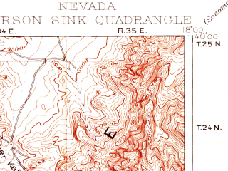 Reduced fragment of topographic map en--usgs--250k--322270--(1908)--N040-00_W119-00--N039-00_W118-00 in area of Carson Sink, Carson Lake, Sheckler Reservoir; towns and cities Fallon, Fallon Station