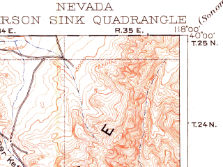 Reduced fragment of topographic map en--usgs--250k--322270--(1910)--N040-00_W119-00--N039-00_W118-00 in area of Carson Sink, Carson Lake, Sheckler Reservoir; towns and cities Fallon, Fallon Station