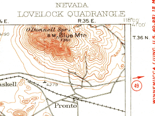 Reduced fragment of topographic map en--usgs--250k--322282--(1931)--N041-00_W119-00--N040-00_W118-00 in area of Rye Patch Reservoir; towns and cities Lovelock