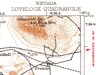 Reduced fragment of topographic map en--usgs--250k--322282--(1935)--N041-00_W119-00--N040-00_W118-00 in area of Rye Patch Reservoir; towns and cities Lovelock