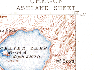 Reduced fragment of topographic map en--usgs--250k--322296--(1891)--N043-00_W123-00--N042-00_W122-00 in area of Crater Lake, Howard Prairie Lake, Lost Creek Lake; towns and cities Medford, Ashland, Central Point, White City, Jacksonville