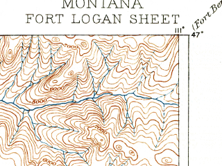 Reduced fragment of topographic map en--usgs--250k--322327--(1886)--N047-00_W112-00--N046-00_W111-00 in area of Canyon Ferry Lake; towns and cities Helena Valley Northeast, Helena Valley Southeast, Townsend