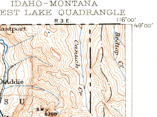 Reduced fragment of topographic map en--usgs--250k--322346--(1911)--N049-00_W117-00--N048-00_W116-00 in area of Priest Lake, Priest, Upper Priest Lake; towns and cities Sandpoint, Ponderay, Priest River, Dover