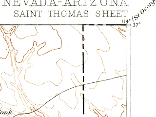Reduced fragment of topographic map en--usgs--250k--322490--(1886)--N037-00_W115-00--N036-00_W114-00 in area of Muddy; towns and cities Moapa Valley, Mesquite