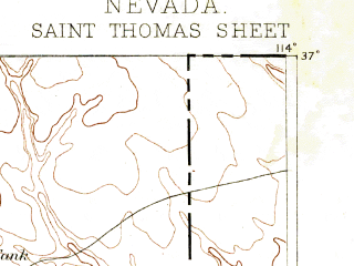 Reduced fragment of topographic map en--usgs--250k--322490--(1893)--N037-00_W115-00--N036-00_W114-00 in area of Muddy; towns and cities Mesquite, Moapa Valley