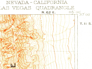 Reduced fragment of topographic map en--usgs--250k--322491--(1908)--N037-00_W116-00--N036-00_W115-00; towns and cities Las Vegas, Paradise, Spring Valley, Sunrise Manor, Henderson