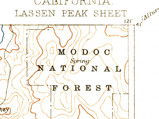 Reduced fragment of topographic map en--usgs--250k--322495--(1894)--N041-00_W122-00--N040-00_W121-00 in area of Lake Almanor, Prattville Butt Reservoir; towns and cities Westwood, Burney, Chester