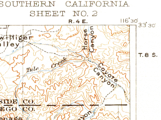 Reduced fragment of topographic map en--usgs--250k--396038--(1904)--N033-30_W117-45--N032-30_W116-30 in area of San Diego Bay, Lake Henshaw, San Vicente Reservoir; towns and cities San Diego, Tijuana, Chula Vista, Oceanside, Escondido