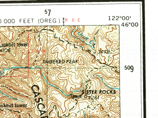 Reduced fragment of topographic map en--usgs--250k--396049--(1958)--N046-00_W124-05--N045-00_W122-00; towns and cities Portland, Gresham, Beaverton, Tigard, Powellhurst-centennial