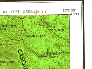 Reduced fragment of topographic map en--usgs--250k--396049--(1964)--N046-00_W124-05--N045-00_W122-00; towns and cities Portland, Gresham, Beaverton, Tigard, Powellhurst-centennial