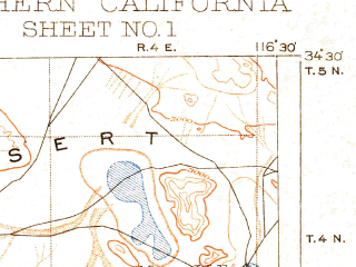 Reduced fragment of topographic map en--usgs--250k--396058--(1904)--N034-30_W118-30--N033-30_W116-30; towns and cities Los Angeles, Riverside, Long Beach, Santa Ana, Anaheim