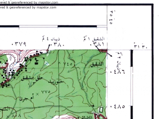 Reduced fragment of topographic map he--rjgc--050k--31-35-g--(1993)--N031-30_E035-30--N031-15_E035-45; towns and cities Qasr, Rabba