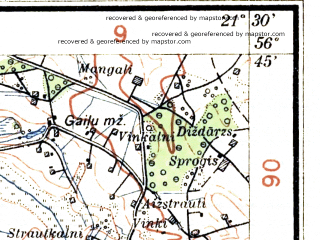 Reduced fragment of topographic map lv--las--075k--005--(1929)--N056-45_E020-58--N056-30_E021-30; towns and cities Liepaja, Durbe, Grobinya, Seda