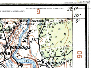 Reduced fragment of topographic map lv--las--075k--011--(1928)--N057-00_E021-30--N056-45_E022-00; towns and cities Kuldiga, Alsunga