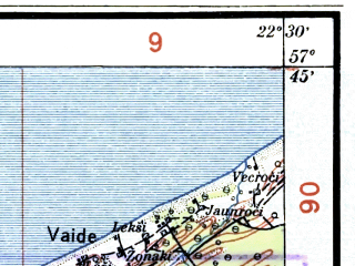Reduced fragment of topographic map lv--las--075k--015--(1928)--N057-45_E022-00--N057-30_E022-30; towns and cities Dundaga