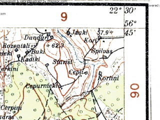 Reduced fragment of topographic map lv--las--075k--019--(1927)--N056-45_E022-00--N056-30_E022-30; towns and cities Saldus, Skrunda