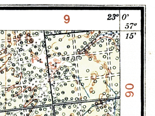 Reduced fragment of topographic map lv--las--075k--023--(1928)--N057-15_E022-30--N057-00_E023-00; towns and cities Talsy, Kandava, Sabile, Stende