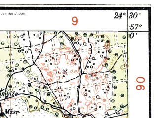 Reduced fragment of topographic map lv--las--075k--039--(1929)--N057-00_E024-00--N056-45_E024-30; towns and cities Riga, Balozhi, Salaspils, Stopini