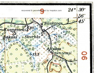 Reduced fragment of topographic map lv--las--075k--040--(1928)--N056-45_E024-00--N056-30_E024-30; towns and cities Baldone, Iyetsava