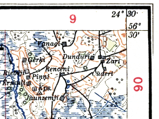 Reduced fragment of topographic map lv--las--075k--041--(1927)--N056-30_E024-00--N056-15_E024-30; towns and cities Bauska
