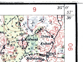 Reduced fragment of topographic map lv--las--075k--046--(1930)--N057-30_E024-30--N057-15_E025-00; towns and cities Igate, Mazstraupe